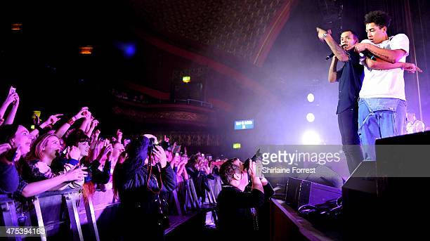Harley AlexanderSule and Jordan Stephens of Rizzle Kicks perform at Manchester Apollo on February 27 2014 in Manchester England