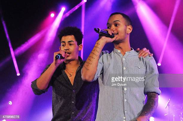 Harley AlexanderSule and Jordan Stephens of Rizzle Kicks perform live on stage at the Hammersmith Apollo on March 1 2014 in London United Kingdom