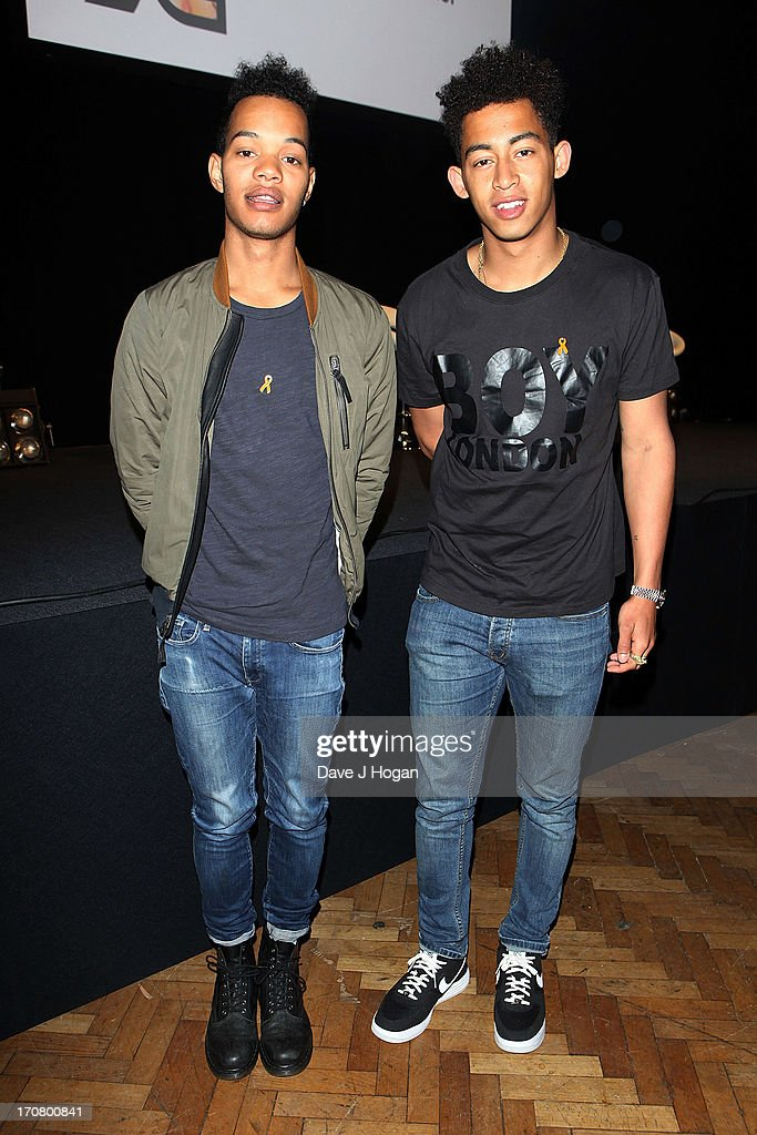 Harley Alexander-Sule (L) and Jordan Stephens of The Rizzle Kicks attend a press conference and photocall to accounce 'Unity - A Concert for Stephen Lawrence' at Abbey Road Studios on June 18, 2013 in London, England.