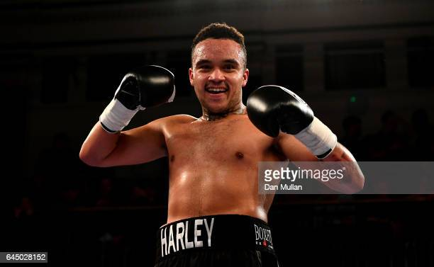 Harley Benn of Great Britain celebrates victory over Domink Zubko of Slovakia during their SuperMiddleweight Contest at York Hall on February 24 2017...