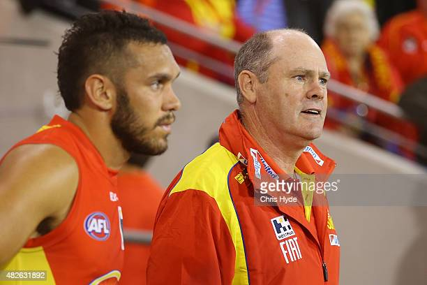 Harley Bennell and Suns coach Rodney Eade look on after a draw during the round 18 AFL match between the Gold Coast Suns and the West Coast Eagles at...