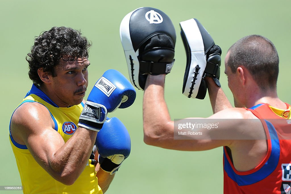 Harley Bennell boxing during a Gold Coast Suns pre-season AFL training session at Metricon Stadium on November 26, 2012 on the Gold Coast, Australia.