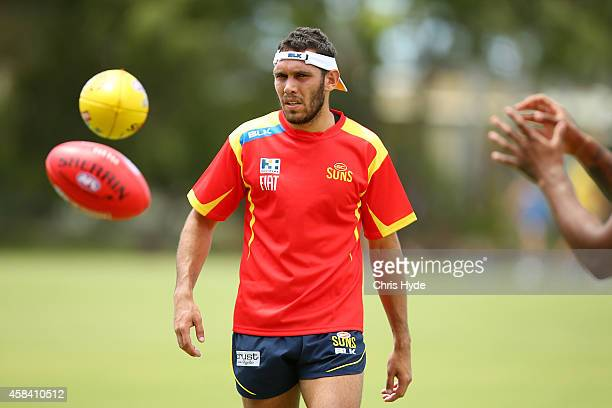Harley Bennell looks on during a Gold Coast Suns training session at Metricon Stadium on November 5 2014 in Gold Coast Australia