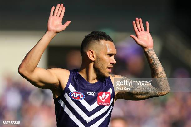 Harley Bennell of the Dockers celebrates a goal during the round 22 AFL match between the Fremantle Dockers and the Richmond Tigers at Domain Stadium...