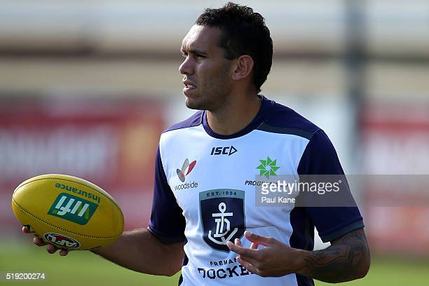 Harley Bennell of the Dockers looks on during Fremantle Dockers AFL training session at Fremantle Oval on April 5 2016 in Fremantle Australia