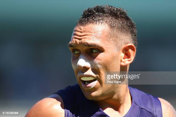 Harley Bennell of the Dockers looks on during the NAB Challenge match between the Fremantle Dockers and the Geelong Cats at Domain Stadium on March...