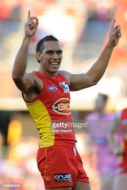 Harley Bennell of the Suns celebrates kicking a goal during the round 10 AFL match between the Gold Coast Suns and the Western Bulldogs at Metricon...