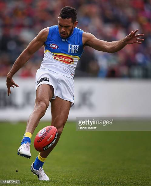 Harley Bennell of the Suns kicks the ball during the round 17 AFL match between the Adelaide Crows and the GOld COast Titans at Adelaide Oval on July...