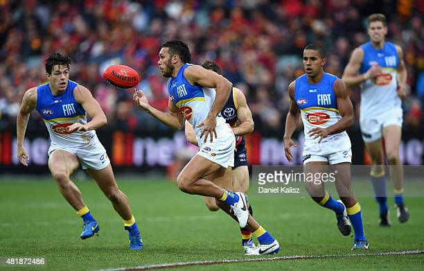 Harley Bennell of the Suns looks to pass the ball during the round 17 AFL match between the Adelaide Crows and the GOld COast Titans at Adelaide Oval...