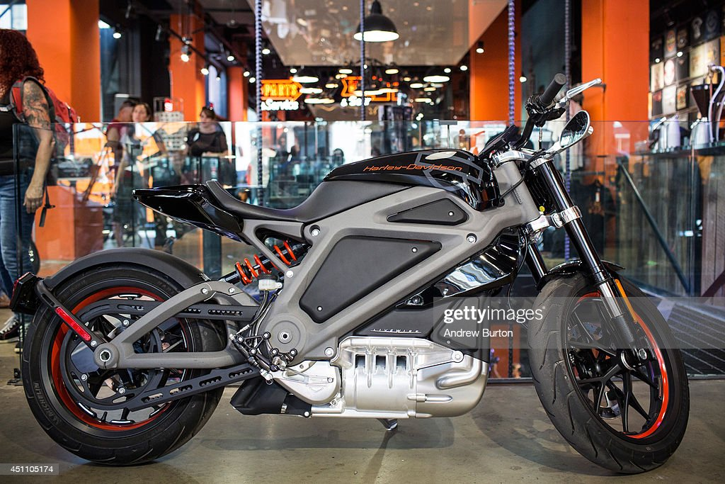 A Harley Davidson Livewire motorcycle, Harley Davidson's first electric bike, sits on display inside the Harley Davidson Store on June 23, 2014 in New York City. The Livewire has 74 horsepower and a top speed of 92 miles per hour.
