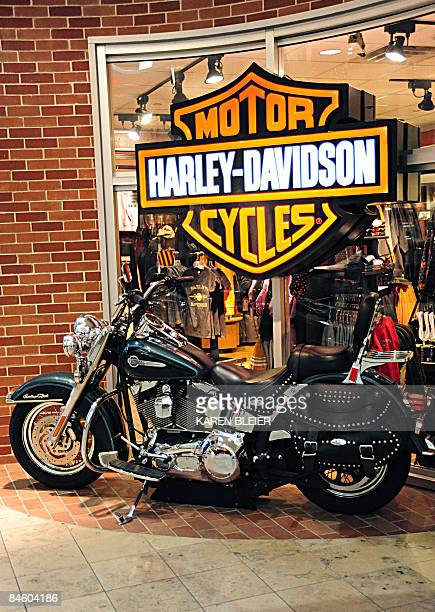 A Harley Davidson motorcycle is displayed at a Harley Davidson store in St Paul Minnesota AFP PHOTO/Karen BLEIER