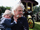 Harley James 13 months from Middleton Teesdale is held by his grandfather Peter Bowron at the annual Duncombe Park Steam Fair on July 3 2016 in...