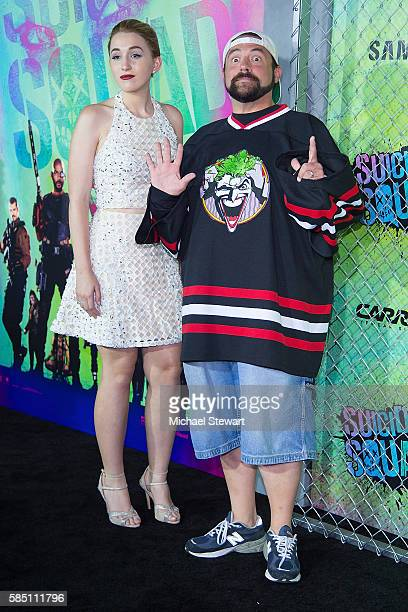 Harley Quinn Smith and Kevin Smith attend the 'Suicide Squad' world premiere at The Beacon Theatre on August 1 2016 in New York City
