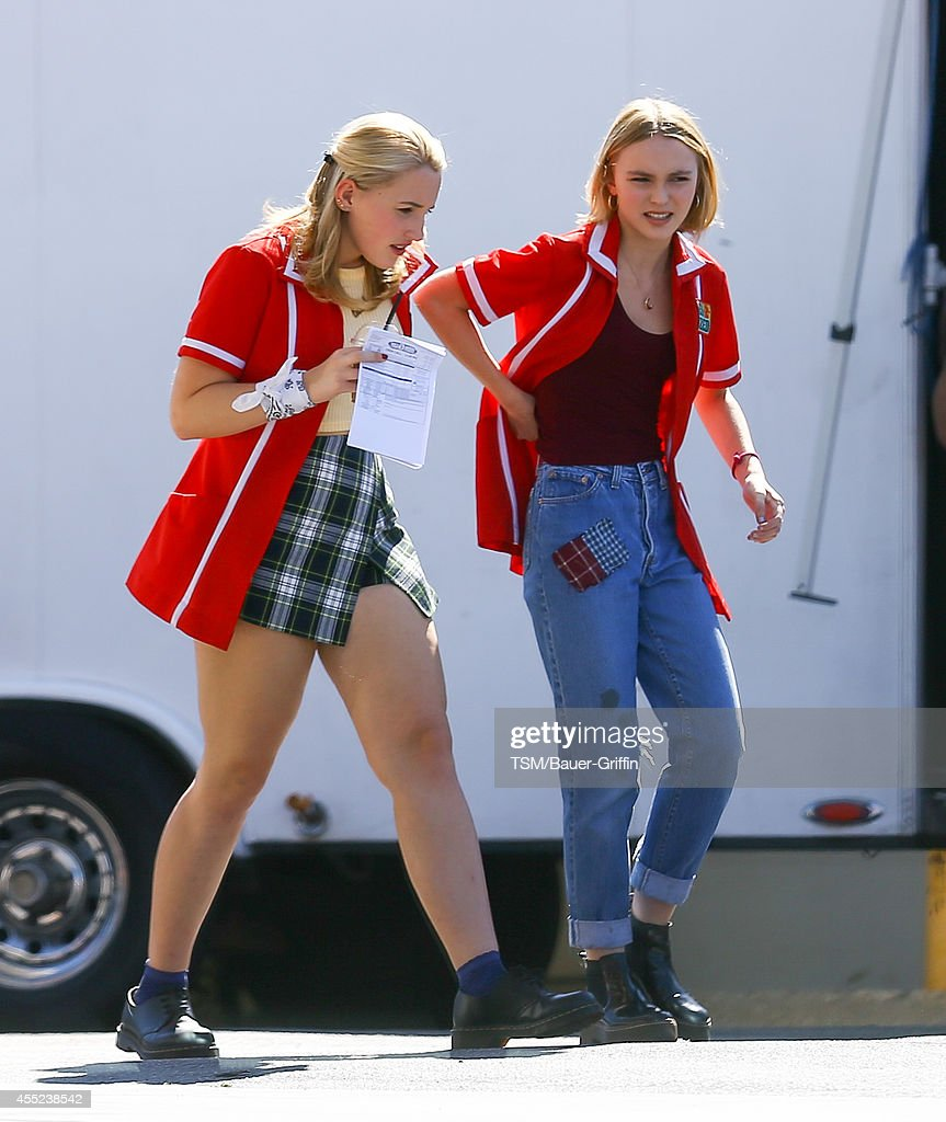 Harley quinn smith and lily rose melody depp are seen on the set of
