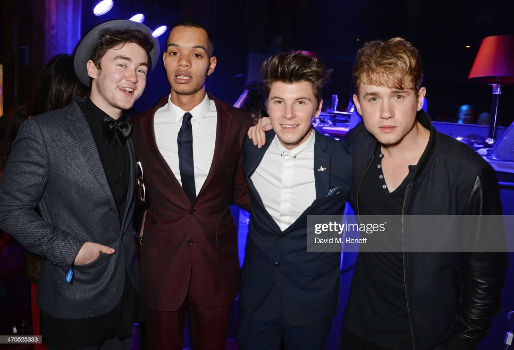 Harley 'Sylvester' Alexander-Sule (2L) and guests attend the Universal Music Brits' After Party At Soho House Pop-Up on February 19, 2014 in London, United Kingdom.