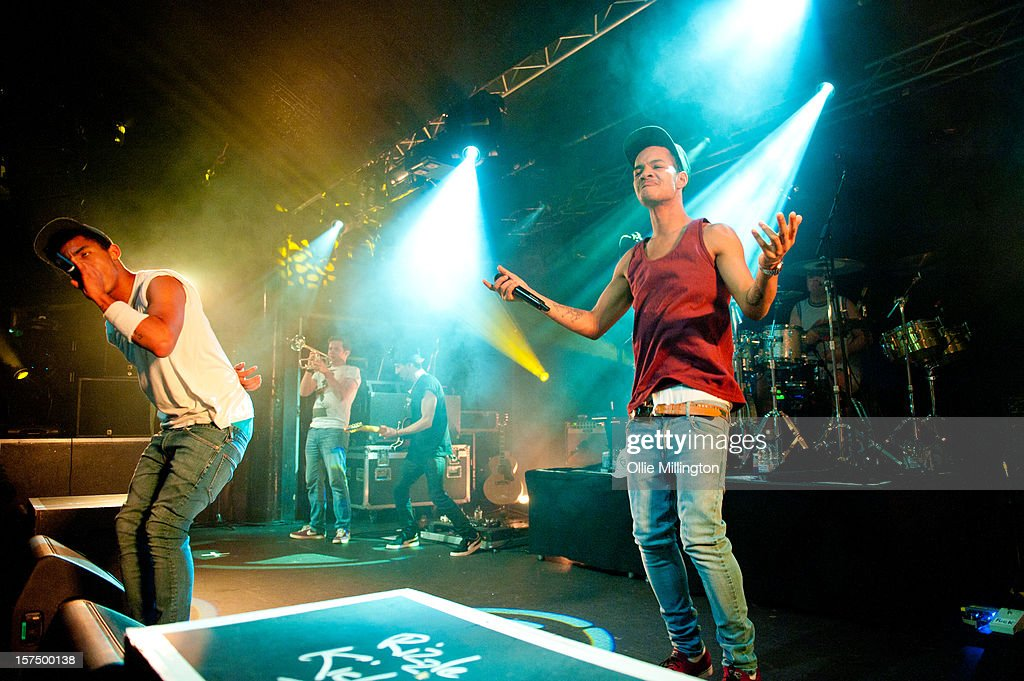 Harley 'Sylvester' Alexander-Sule and Jordan 'Rizzle' Stephens of Rizzle Kicks perform onstage during their December 2012 UK tour at Rock City on December 3, 2012 in Nottingham, England.