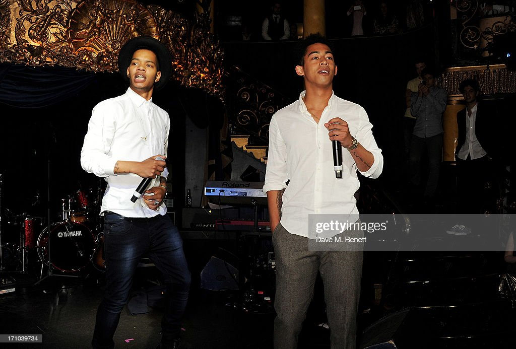 REQUIRED) Harley 'Sylvester' Alexander-Sule (L) and Jordan 'Rizzle' Stephens of Rizzle Kicks perform at the Hoping Foundation's 'Rock On' benefit evening for Palestinian refugee children at Cafe de Paris on June 20, 2013 in London, England.