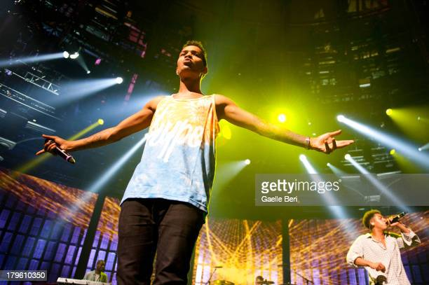 Harley 'Sylvester' AlexanderSule and Jordan 'Rizzle' Stephens of Rizzle Kicks perform on stage on Day 5 of iTunes Festival 2013 at The Roundhouse on...