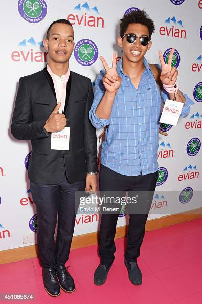 Harley 'Sylvester' AlexanderSule and Jordan 'Rizzle' Stephens of Rizzle Kicks attend the evian Live Young suite on the opening day of Wimbledon at...