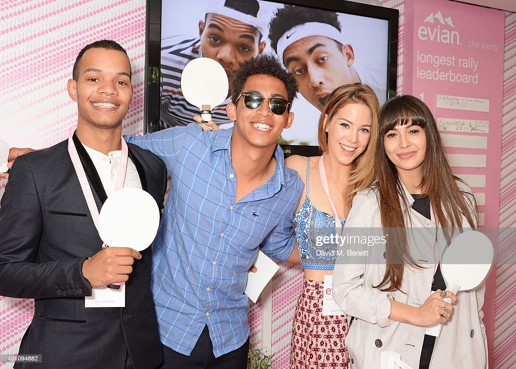 Harley 'Sylvester' Alexander-Sule, Jordan 'Rizzle' Stephens, Roxanne McKee and <a gi-track='captionPersonalityLinkClicked' href=/galleries/search?phrase=Zara+Martin&family=editorial&specificpeople=6550505 ng-click='$event.stopPropagation()'>Zara Martin</a> attend the evian Live Young suite on the opening day of Wimbledon at the All England Lawn Tennis and Croquet Club on June 23, 2014 in London, England.