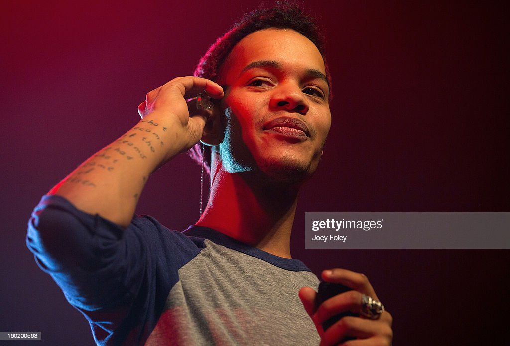 Harley 'Sylvester' Alexander-Sule of British hip-hop duo Rizzle Kicks performs in concert at the Murat Egyptian Room on January 26, 2013 in Indianapolis, Indiana.