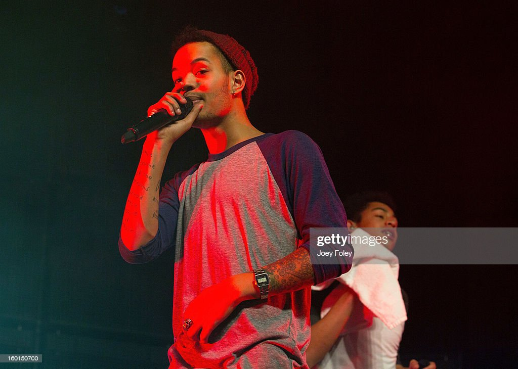 Harley Sylvester (L) and Rizzle (Jordan Stephens) of British hip-hop duo Rizzle Kicks performs in concert at the Murat Egyptian Room on January 26, 2013 in Indianapolis, Indiana.