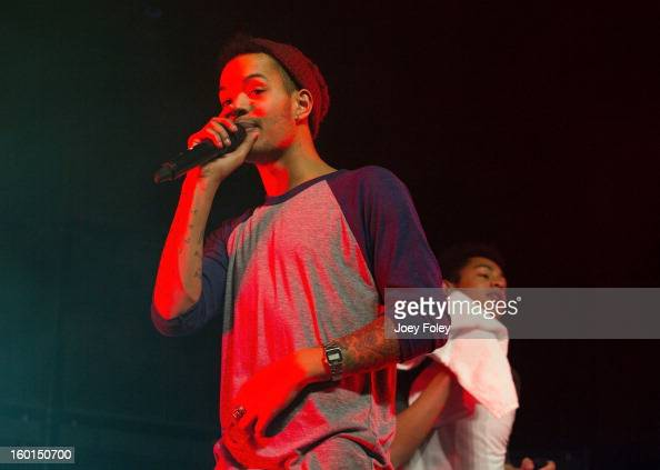 Harley Sylvester and Rizzle of British hiphop duo Rizzle Kicks performs in concert at the Murat Egyptian Room on January 26 2013 in Indianapolis...