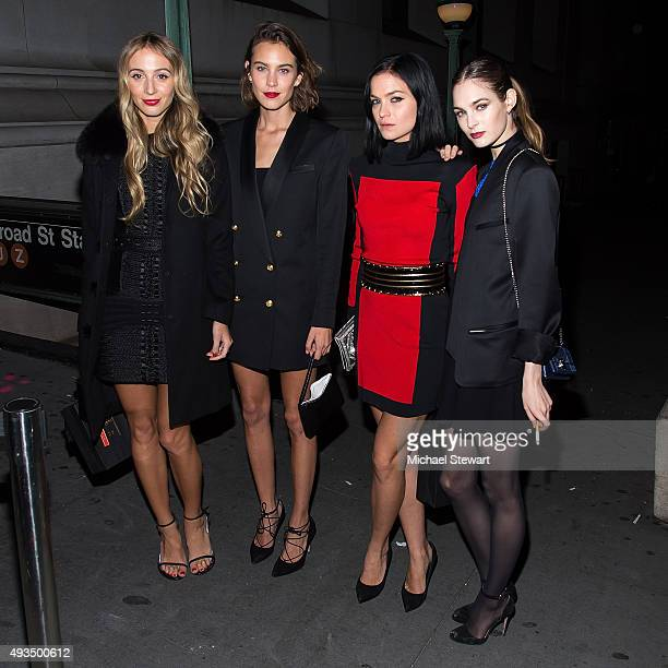 Harley Viera Newton Alexa Chung Leigh Lezark and Laura Love are seen outside of the BALMAIN X HM Collection launch event at 23 Wall Street on October...