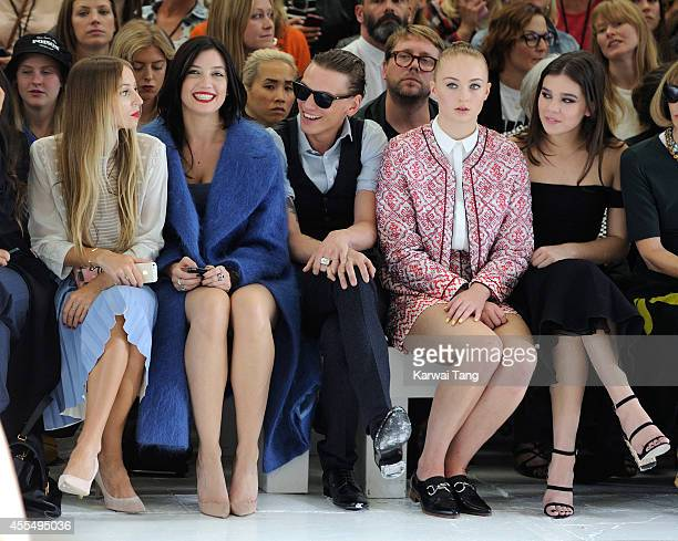 Harley Viera Newton Daisy Lowe Jamie Campbell Bower Sophie Turner and Hailee Steinfeld attend the TopShop Unique show during London Fashion Week...
