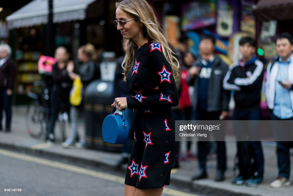 Harley Viera-Newton outside House of Holland during London Fashion Week September 2017 on September 16, 2017 in London, England.