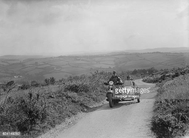 HarleyDavidson and sidecar of RW Praill competing in the MCC Torquay Rally 1938 Artist Bill BrunellHarleyDavidson s/car 1208 cc Event Entry No 30...