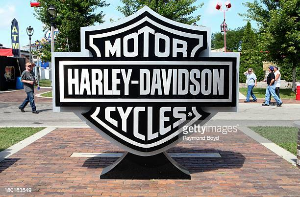 HarleyDavidson Motorcycles signage on display at the Summerfest Grounds to commemorate the HarleyDavidson 110th Year Anniversary Celebration in...