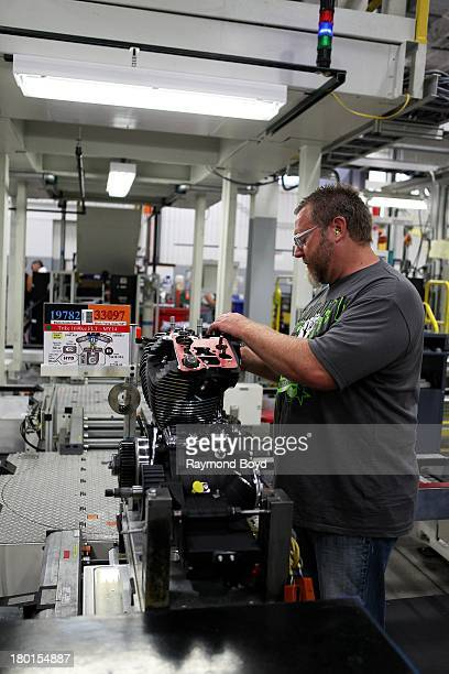 HarleyDavidson worker works on the TRIKE 1690cc FLT assembly at the HarleyDavidson Pilgrim Road Powertrain Operations Plant in Menomonee Falls...