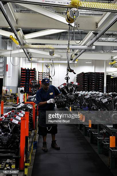 HarleyDavidson worker works on the TwinCam Engines assembly at the HarleyDavidson Pilgrim Road Powertrain Operations Plant in Menomonee Falls...