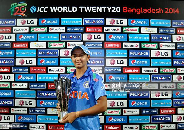 Harmanpreet Bhullar of India poses with the player of the match award during the presentaion after the ICC Women's World Twenty20 match between...