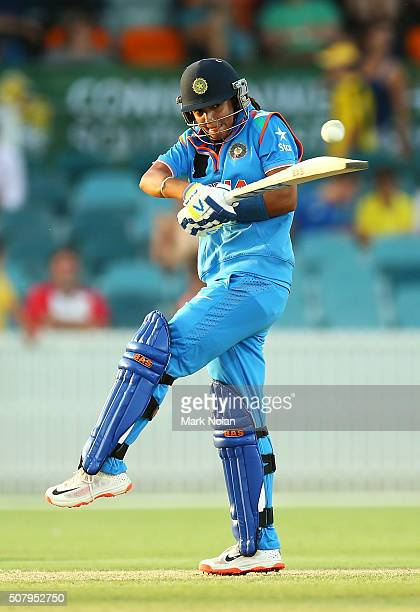 Harmanpreet Kaur of India bats during game one of the Women's ODI series between Australia and India at Manuka Oval on February 2 2016 in Canberra...