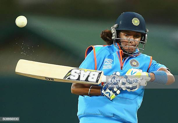 Harmanpreet Kaur of India bats during game three of the one day international series between Australia and India at Blundstone Arena on February 7...