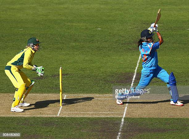 Harmanpreet Kaur of India bats during game two of the women's one day international series between Australia and India at Blundstone Arena on...