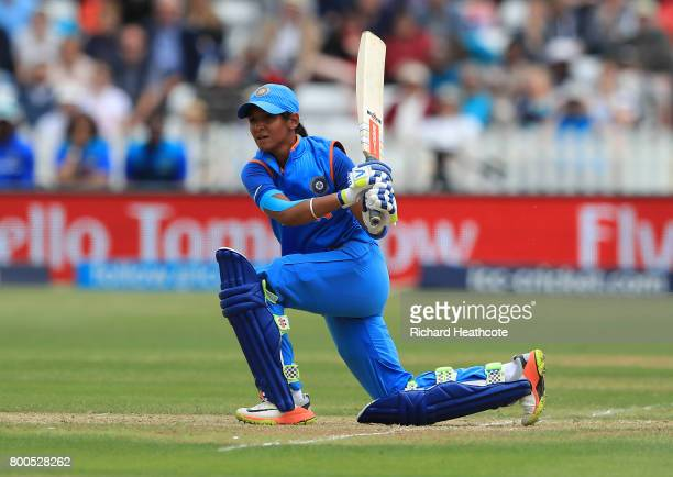 Harmanpreet Kaur of India bats during the England v India group stage match at the ICC Women's World Cup 2017 at The 3aaa County Ground on June 24...