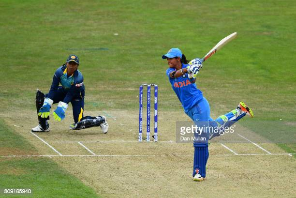 Harmanpreet Kaur of India bats during the ICC Women's World Cup 2017 match between Sri Lanka and India at The 3aaa County Ground on July 5 2017 in...
