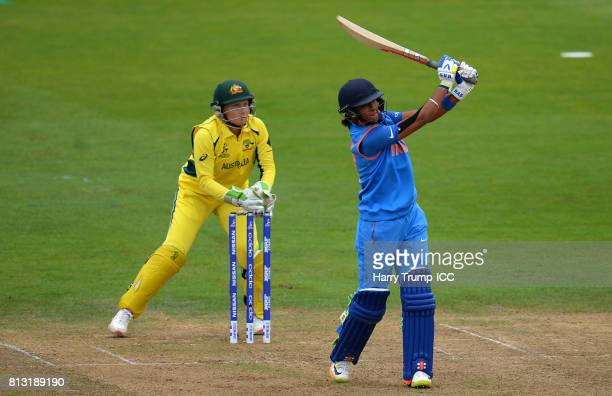 Harmanpreet Kaur of India bats during the ICC Women's World Cup 2017 match between Australia and India at The County Ground on July 12 2017 in...