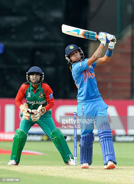 Harmanpreet Kaur of India bats during the Women's ICC World Twenty20 India 2016 match between India and Bangladesh at the Chinnaswamy stadium on...