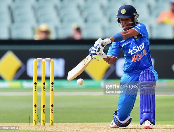 Harmanpreet Kaur of India bats during the women's Twenty20 International match between Australia and India at Adelaide Oval on January 26 2016 in...
