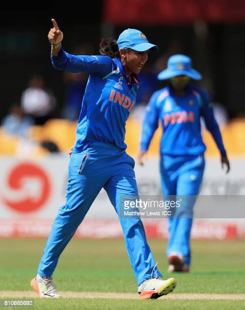 Harmanpreet Kaur of India celebrates bowling Lizelle Lee of South Africa for LBW during the ICC Women's World Cup 2017 match between South Africa and...