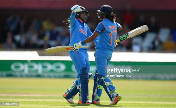 Harmanpreet Kaur of India celebrates her 150 during the ICC Women's World Cup 2017 match between Australia and India at The 3aaa County Ground on...