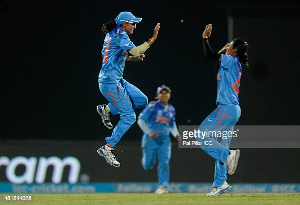 Harmanpreet Kaur of India celebrates the wicket of Stacyann King of West Indies during the ICC Women's World Twenty20 match between West Indies Women...