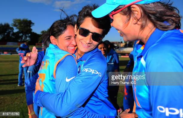 Harmanpreet Kaur of India celebrates victory during the ICC Women's World Cup 2017 match between Australia and India at The 3aaa County Ground on...