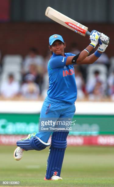 Harmanpreet Kaur of India during the ICC Women's World Cup match between Sri Lanka and India at The 3aaa County Ground on July 5 2017 in Derby England