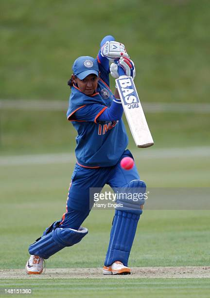 Harmanpreet Kaur of India hits out during the fifth NatWest International One Day match between England Women and India Women at Wormsley Cricket...