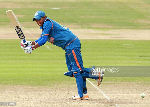 Harmanpreet Kaur of India in action during the 1st NatWest One Day International match between England and India at Lord's on July 1 2012 in London...